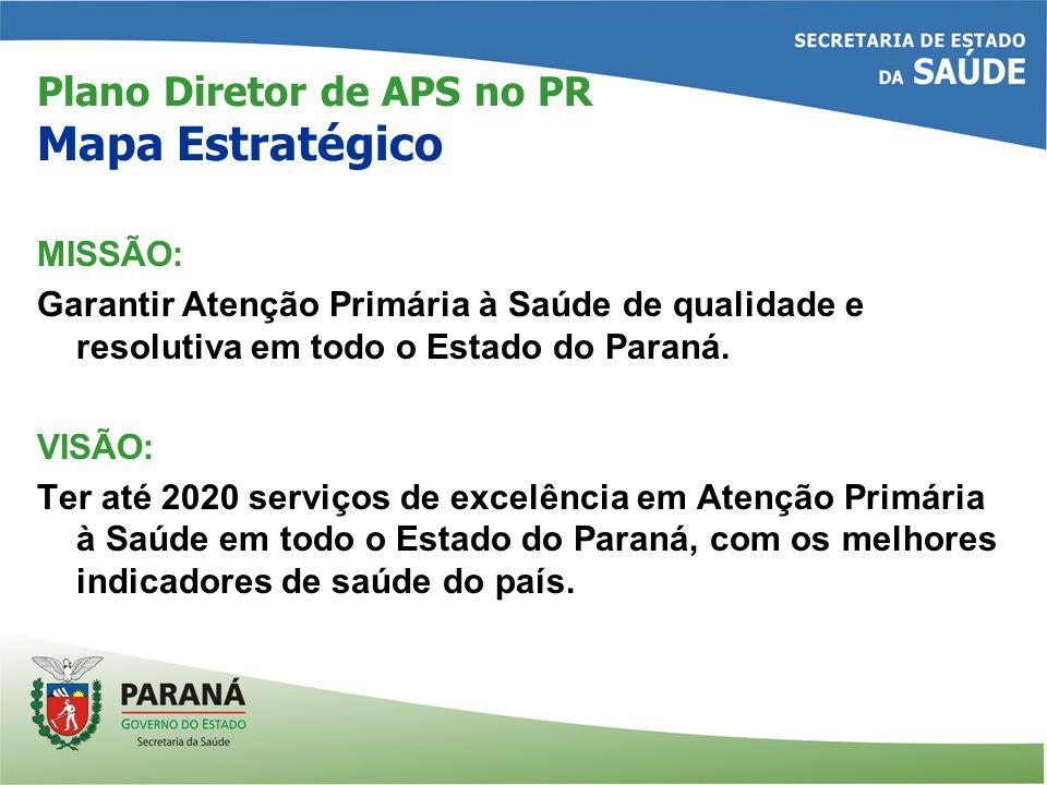 Plano Diretor de APS no PR Mapa Estratégico MISSÃO: Garantir Atenção Primária à Saúde de qualidade e resolutiva em todo o Estado do Paraná.