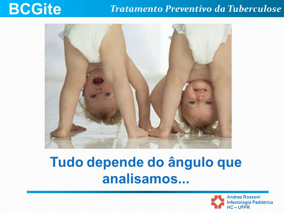 Tratamento Preventivo da Tuberculose Andrea Rossoni Infectologia Pediátrica HC – UFPR Tudo depende do ângulo que analisamos... BCGite