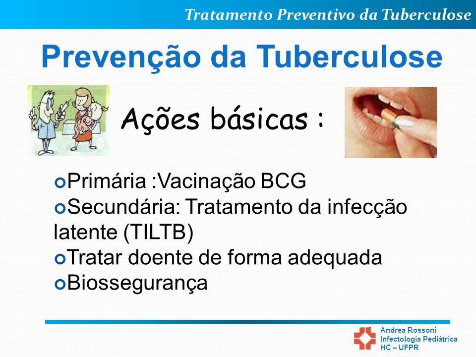 Tratamento Preventivo da Tuberculose Andrea Rossoni Infectologia Pediátrica HC – UFPR Prevenção da Tuberculose Ações básicas : Primária :Vacinação BCG