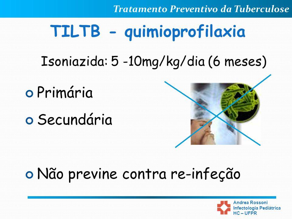 Tratamento Preventivo da Tuberculose Andrea Rossoni Infectologia Pediátrica HC – UFPR TILTB - quimioprofilaxia Primária Secundária Não previne contra
