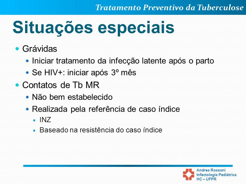 Tratamento Preventivo da Tuberculose Andrea Rossoni Infectologia Pediátrica HC – UFPR Situações especiais Grávidas Iniciar tratamento da infecção late
