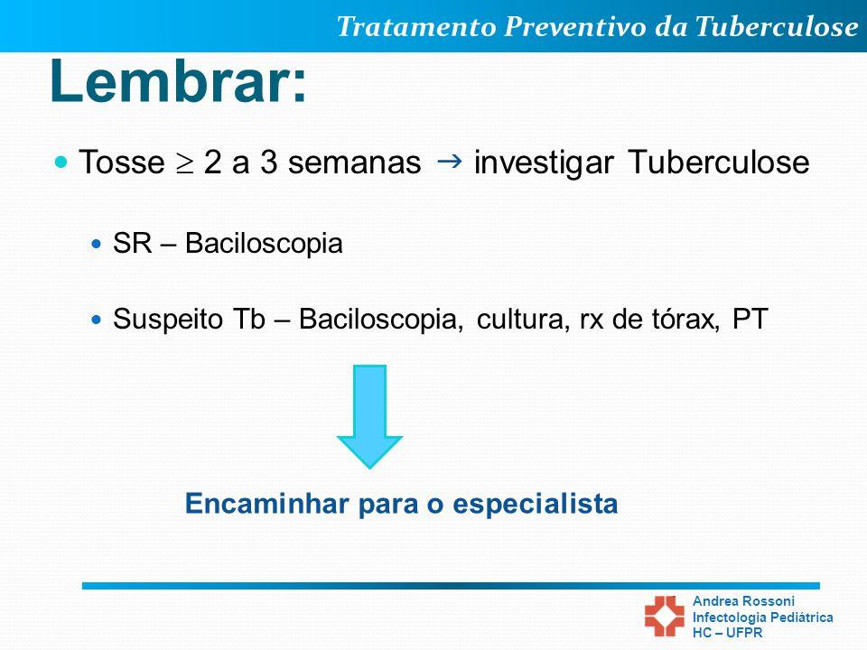 Tratamento Preventivo da Tuberculose Andrea Rossoni Infectologia Pediátrica HC – UFPR Lembrar: Tosse 2 a 3 semanas investigar Tuberculose SR – Bacilos