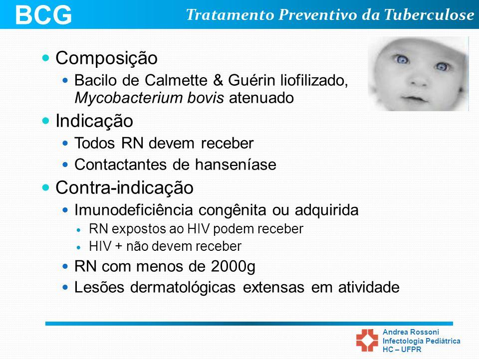 Tratamento Preventivo da Tuberculose Andrea Rossoni Infectologia Pediátrica HC – UFPR BCG Composição Bacilo de Calmette & Guérin liofilizado, Mycobact