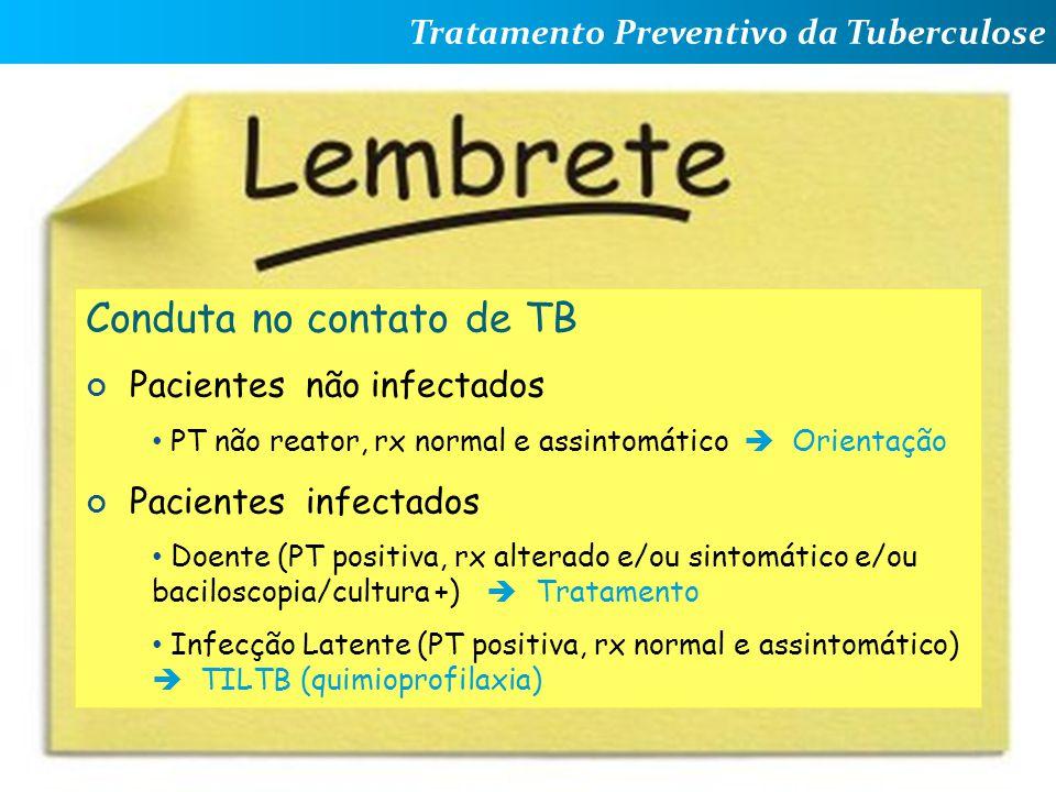 Tratamento Preventivo da Tuberculose Andrea Rossoni Infectologia Pediátrica HC – UFPR Conduta no contato de TB Pacientes não infectados PT não reator,