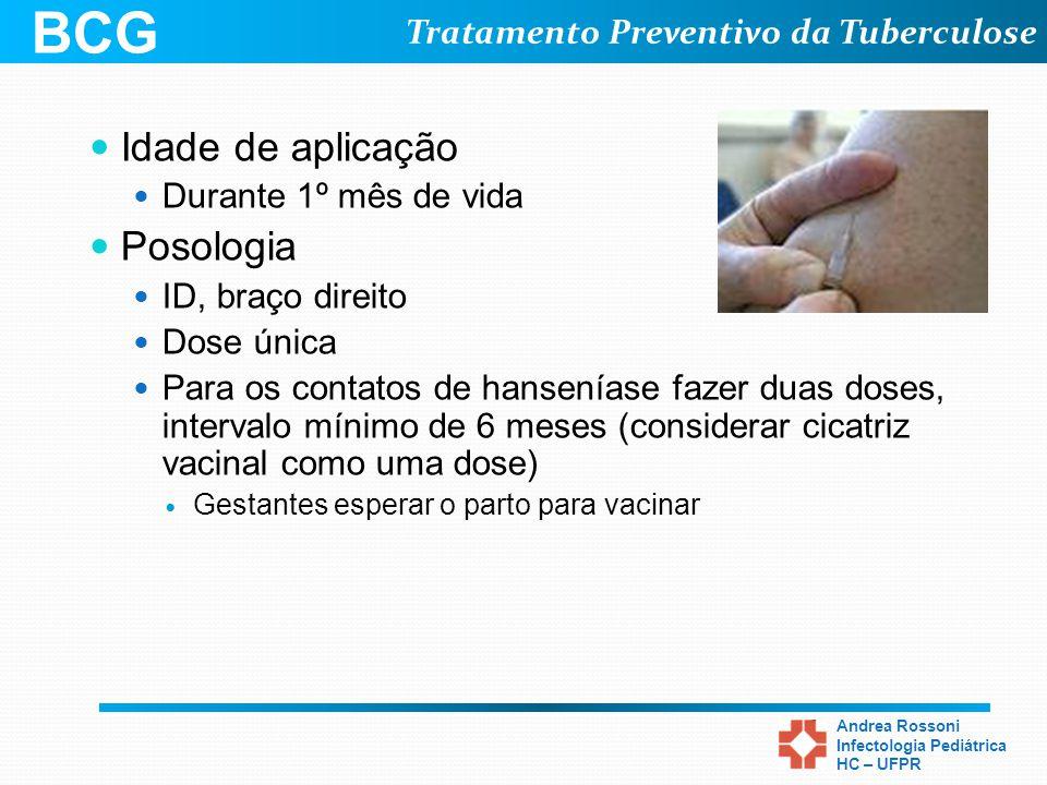 Tratamento Preventivo da Tuberculose Andrea Rossoni Infectologia Pediátrica HC – UFPR Idade de aplicação Durante 1º mês de vida Posologia ID, braço di