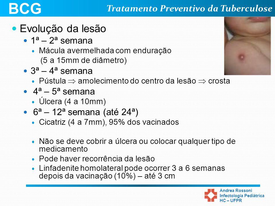 Tratamento Preventivo da Tuberculose Andrea Rossoni Infectologia Pediátrica HC – UFPR Evolução da lesão 1ª – 2ª semana Mácula avermelhada com enduraçã