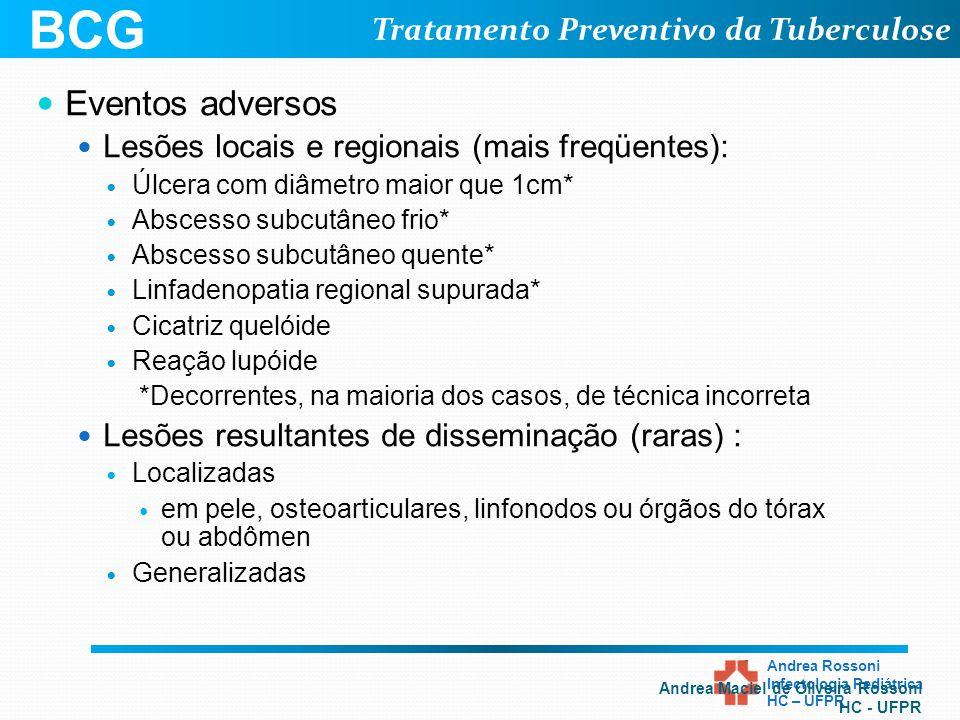 Tratamento Preventivo da Tuberculose Andrea Rossoni Infectologia Pediátrica HC – UFPR Eventos adversos Lesões locais e regionais (mais freqüentes): Úl