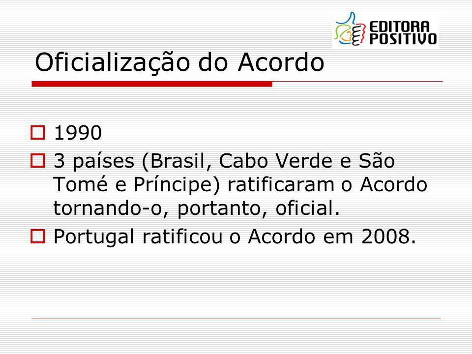 Vigência 1986 a 1990 - elaboração Vigente a partir de 01 janeiro de 2009 4 anos de prazo para implantação plena do Acordo no Brasil