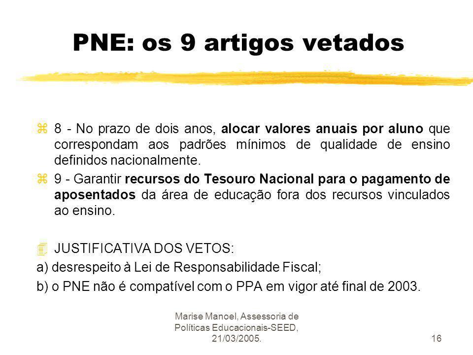 Marise Manoel, Assessoria de Políticas Educacionais-SEED, 21/03/2005.16 PNE: os 9 artigos vetados z8 - No prazo de dois anos, alocar valores anuais po