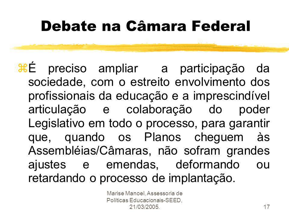 Marise Manoel, Assessoria de Políticas Educacionais-SEED, 21/03/2005.17 Debate na Câmara Federal zÉ preciso ampliar a participação da sociedade, com o