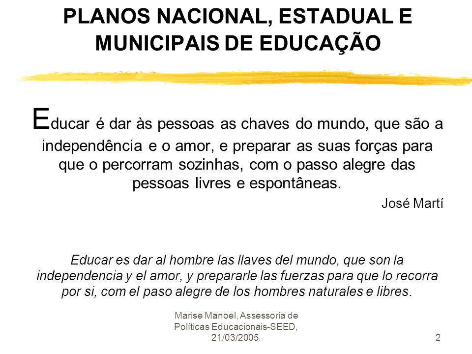 Marise Manoel, Assessoria de Políticas Educacionais-SEED, 21/03/2005.2 PLANOS NACIONAL, ESTADUAL E MUNICIPAIS DE EDUCAÇÃO E ducar é dar às pessoas as