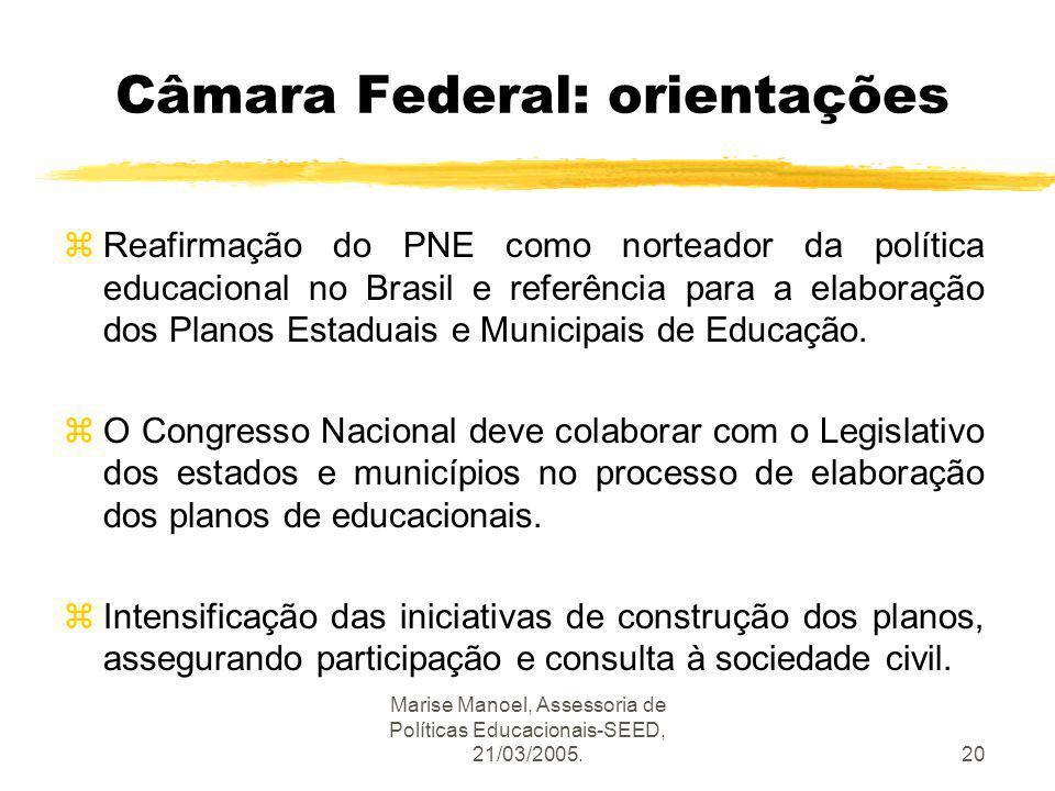Marise Manoel, Assessoria de Políticas Educacionais-SEED, 21/03/2005.20 Câmara Federal: orientações zReafirmação do PNE como norteador da política edu