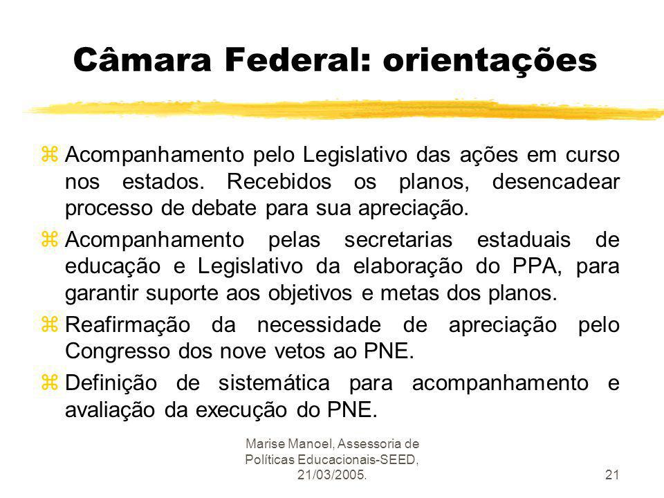 Marise Manoel, Assessoria de Políticas Educacionais-SEED, 21/03/2005.21 Câmara Federal: orientações zAcompanhamento pelo Legislativo das ações em curs