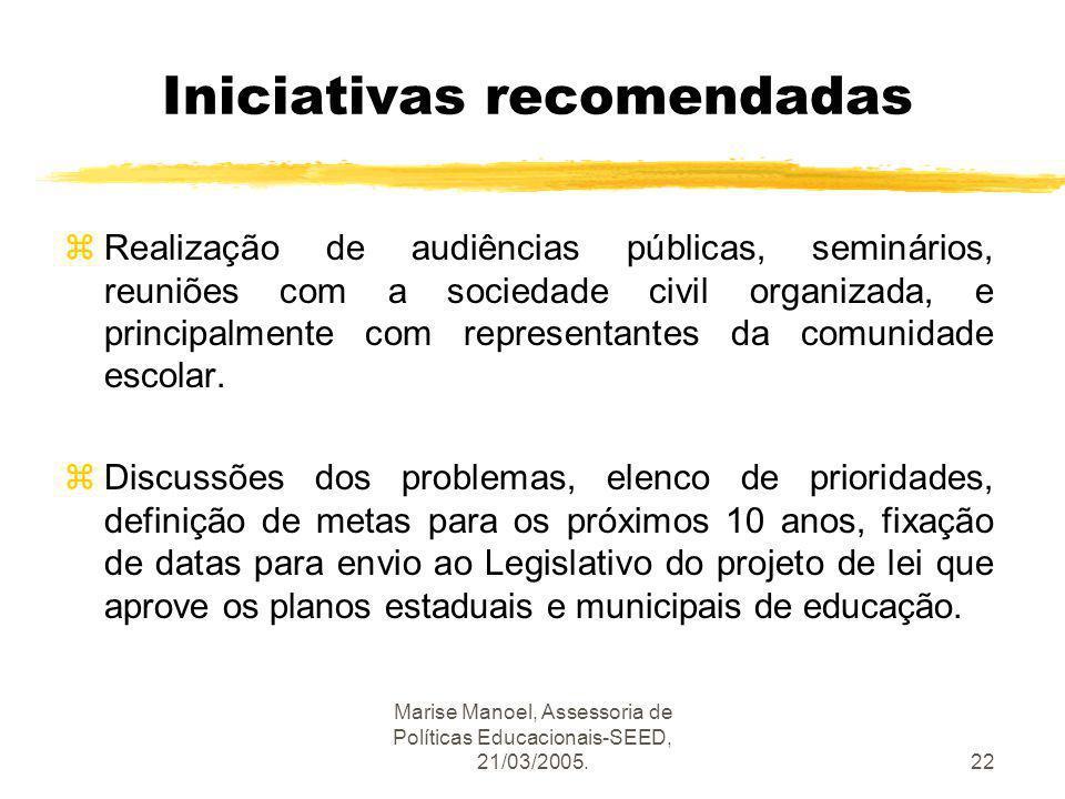 Marise Manoel, Assessoria de Políticas Educacionais-SEED, 21/03/2005.22 Iniciativas recomendadas zRealização de audiências públicas, seminários, reuni