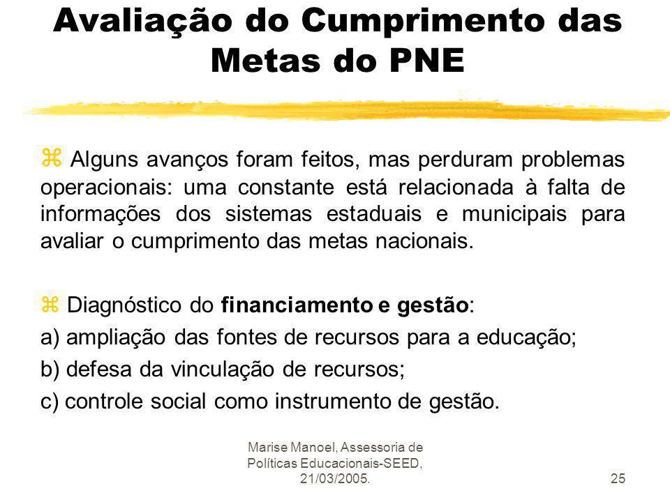 Marise Manoel, Assessoria de Políticas Educacionais-SEED, 21/03/2005.25 Avaliação do Cumprimento das Metas do PNE z Alguns avanços foram feitos, mas p