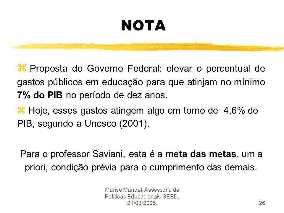 Marise Manoel, Assessoria de Políticas Educacionais-SEED, 21/03/2005.26 NOTA z Proposta do Governo Federal: elevar o percentual de gastos públicos em
