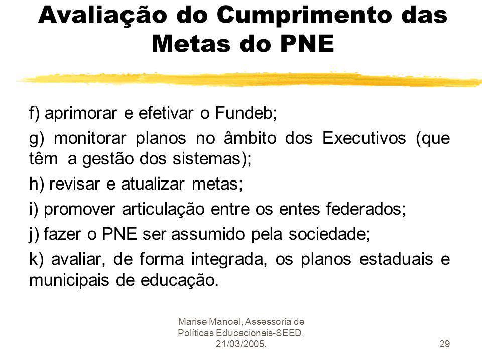Marise Manoel, Assessoria de Políticas Educacionais-SEED, 21/03/2005.29 Avaliação do Cumprimento das Metas do PNE f) aprimorar e efetivar o Fundeb; g)