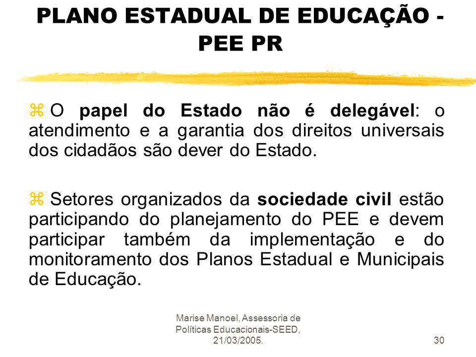Marise Manoel, Assessoria de Políticas Educacionais-SEED, 21/03/2005.30 PLANO ESTADUAL DE EDUCAÇÃO - PEE PR z O papel do Estado não é delegável: o ate