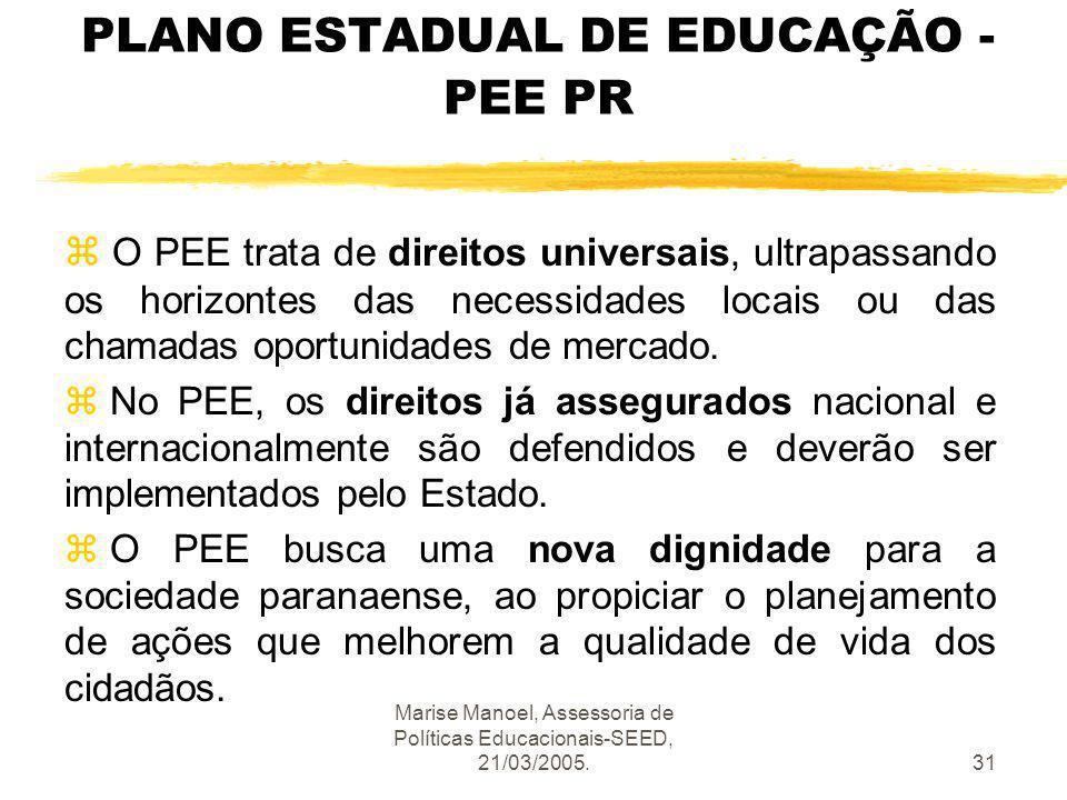 Marise Manoel, Assessoria de Políticas Educacionais-SEED, 21/03/2005.31 PLANO ESTADUAL DE EDUCAÇÃO - PEE PR z O PEE trata de direitos universais, ultr