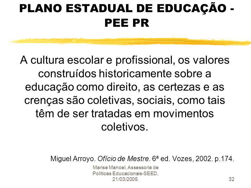 Marise Manoel, Assessoria de Políticas Educacionais-SEED, 21/03/2005.32 PLANO ESTADUAL DE EDUCAÇÃO - PEE PR A cultura escolar e profissional, os valor