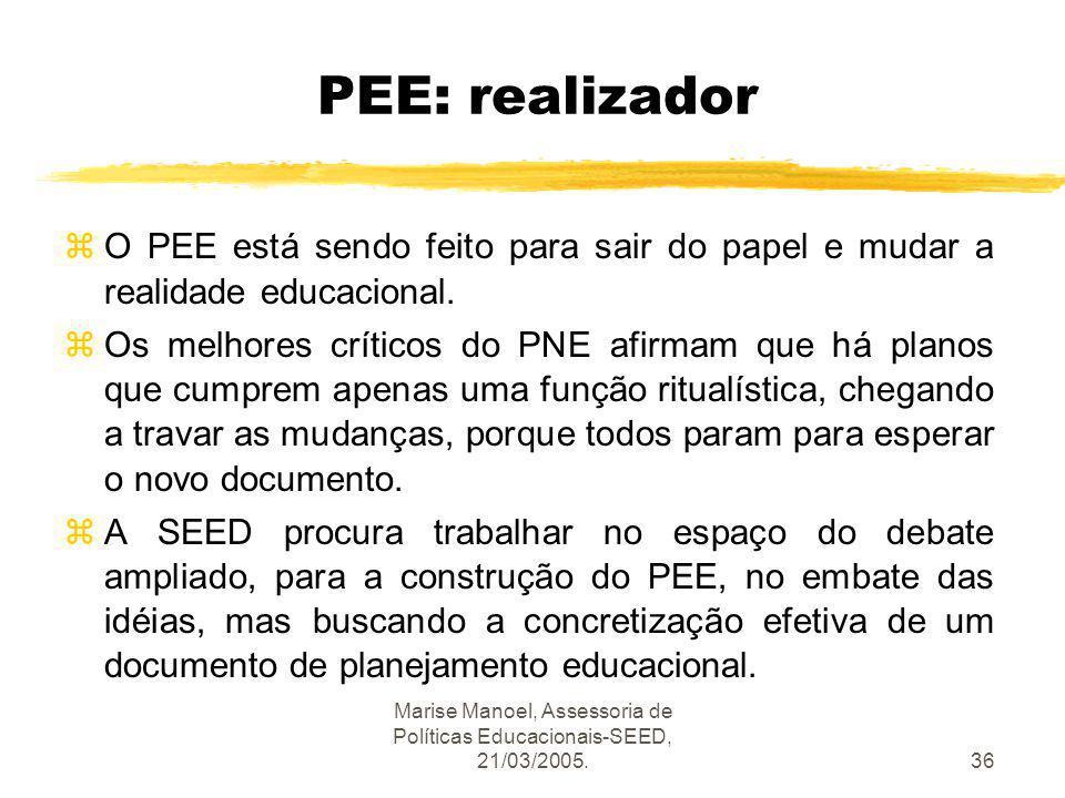 Marise Manoel, Assessoria de Políticas Educacionais-SEED, 21/03/2005.36 PEE: realizador zO PEE está sendo feito para sair do papel e mudar a realidade