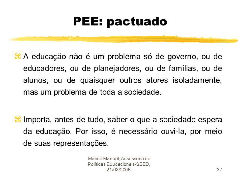 Marise Manoel, Assessoria de Políticas Educacionais-SEED, 21/03/2005.37 PEE: pactuado zA educação não é um problema só de governo, ou de educadores, o