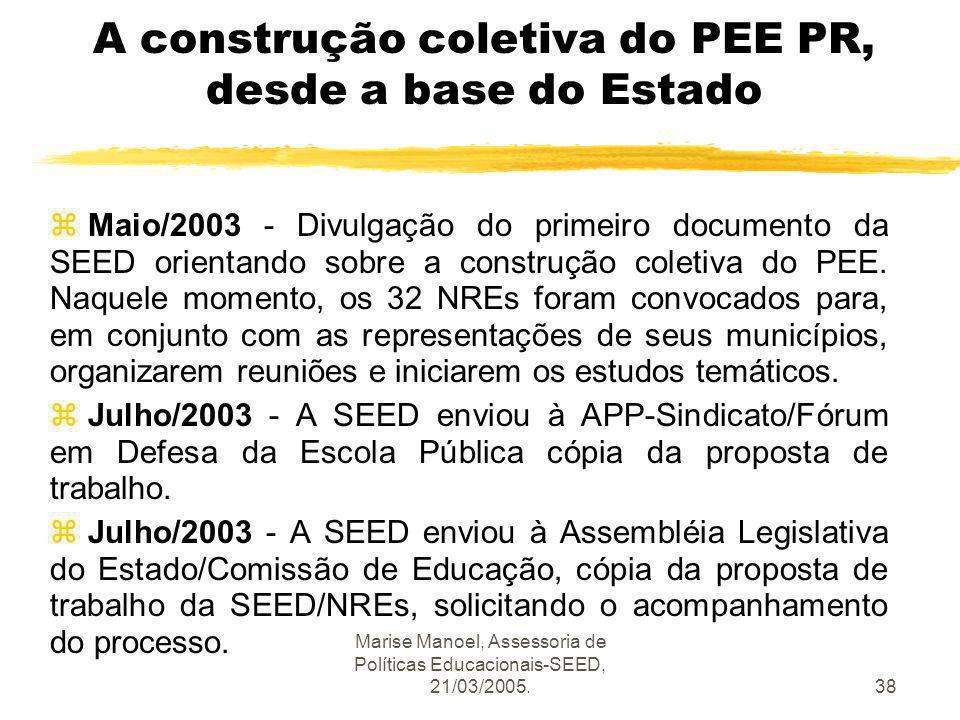 Marise Manoel, Assessoria de Políticas Educacionais-SEED, 21/03/2005.38 A construção coletiva do PEE PR, desde a base do Estado z Maio/2003 - Divulgaç