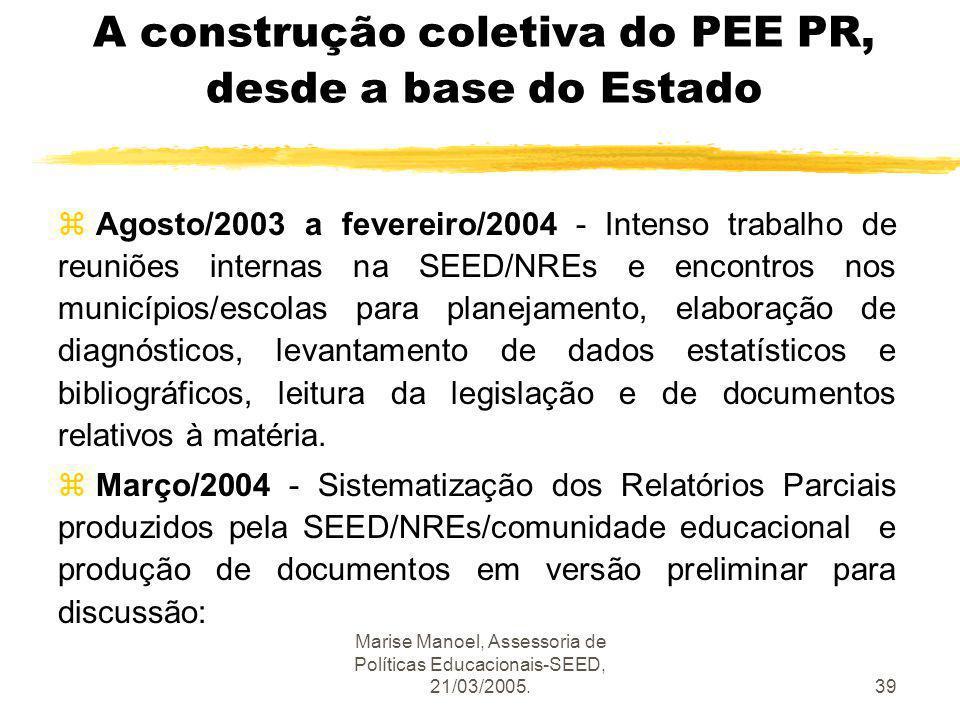 Marise Manoel, Assessoria de Políticas Educacionais-SEED, 21/03/2005.39 A construção coletiva do PEE PR, desde a base do Estado z Agosto/2003 a fevere