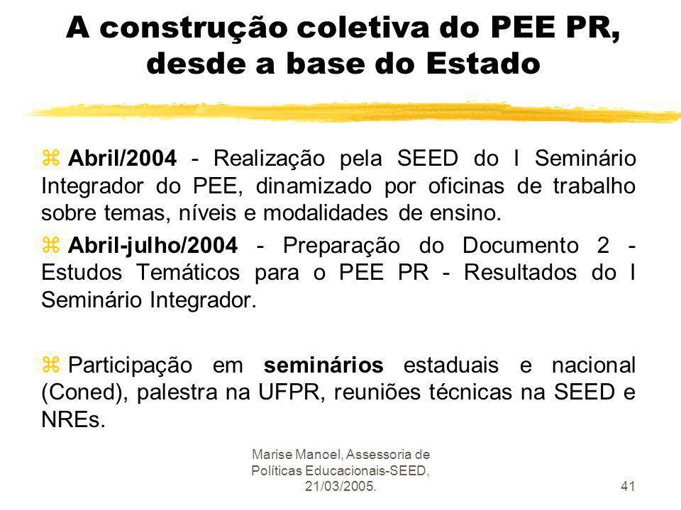 Marise Manoel, Assessoria de Políticas Educacionais-SEED, 21/03/2005.41 A construção coletiva do PEE PR, desde a base do Estado Abril/2004 - Realizaçã