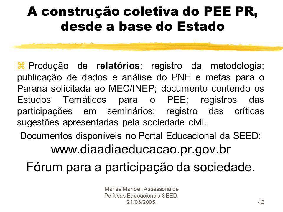 Marise Manoel, Assessoria de Políticas Educacionais-SEED, 21/03/2005.42 A construção coletiva do PEE PR, desde a base do Estado z Produção de relatóri
