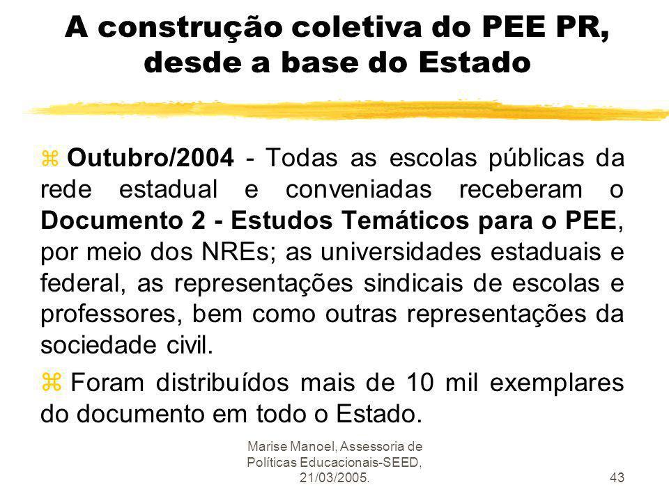 Marise Manoel, Assessoria de Políticas Educacionais-SEED, 21/03/2005.43 A construção coletiva do PEE PR, desde a base do Estado z Outubro/2004 - Todas