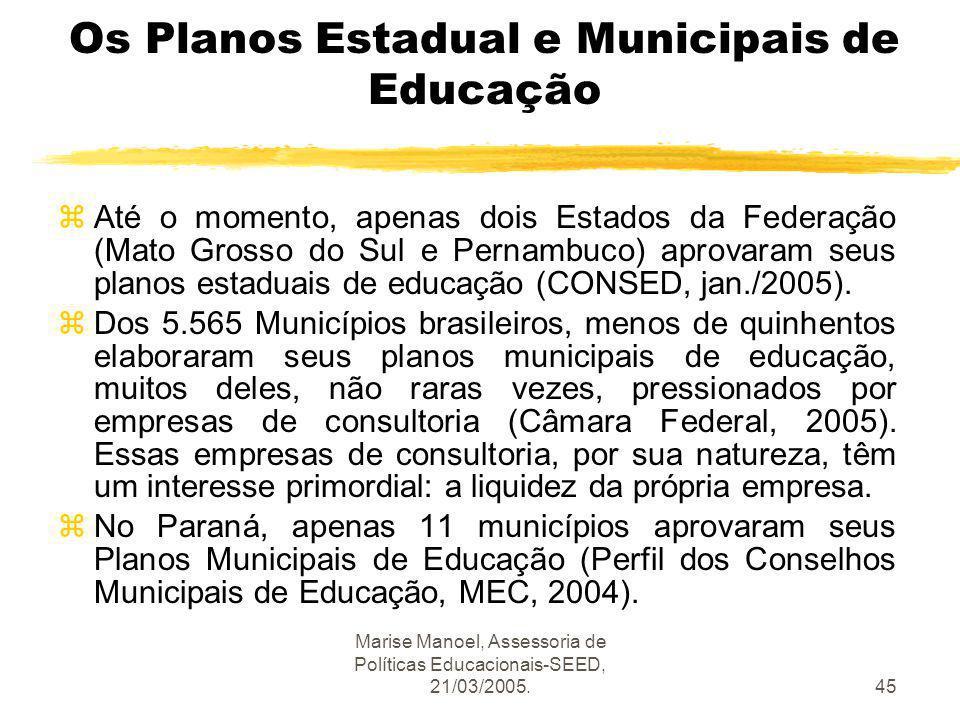 Marise Manoel, Assessoria de Políticas Educacionais-SEED, 21/03/2005.45 Os Planos Estadual e Municipais de Educação zAté o momento, apenas dois Estado