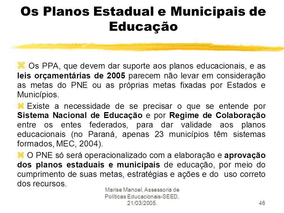 Marise Manoel, Assessoria de Políticas Educacionais-SEED, 21/03/2005.46 Os Planos Estadual e Municipais de Educação z Os PPA, que devem dar suporte ao