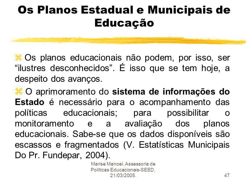 Marise Manoel, Assessoria de Políticas Educacionais-SEED, 21/03/2005.47 Os Planos Estadual e Municipais de Educação z Os planos educacionais não podem