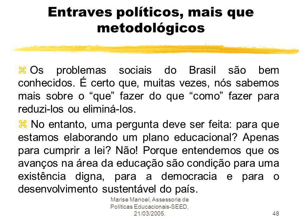 Marise Manoel, Assessoria de Políticas Educacionais-SEED, 21/03/2005.48 Entraves políticos, mais que metodológicos z Os problemas sociais do Brasil sã