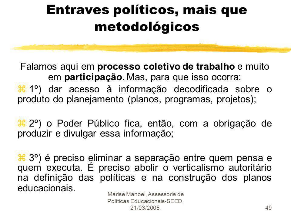 Marise Manoel, Assessoria de Políticas Educacionais-SEED, 21/03/2005.49 Entraves políticos, mais que metodológicos Falamos aqui em processo coletivo d