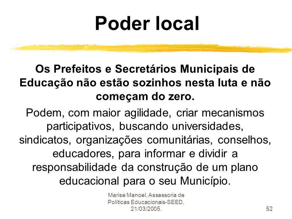 Marise Manoel, Assessoria de Políticas Educacionais-SEED, 21/03/2005.52 Poder local Os Prefeitos e Secretários Municipais de Educação não estão sozinh