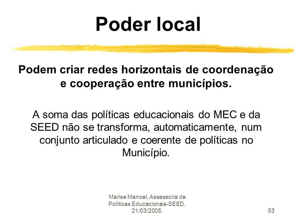 Marise Manoel, Assessoria de Políticas Educacionais-SEED, 21/03/2005.53 Poder local Podem criar redes horizontais de coordenação e cooperação entre mu