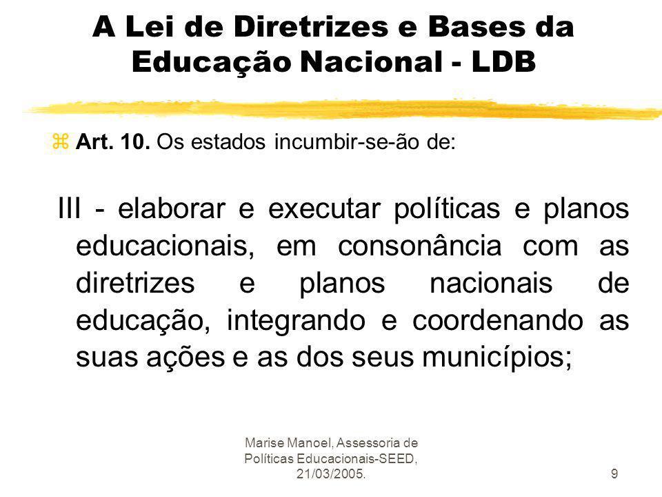 Marise Manoel, Assessoria de Políticas Educacionais-SEED, 21/03/2005.50 Entraves políticos, mais que metodológicos z Não basta que o Estado fixe, no âmbito de decisão central, um Plano Educacional com dimensão estratégica.