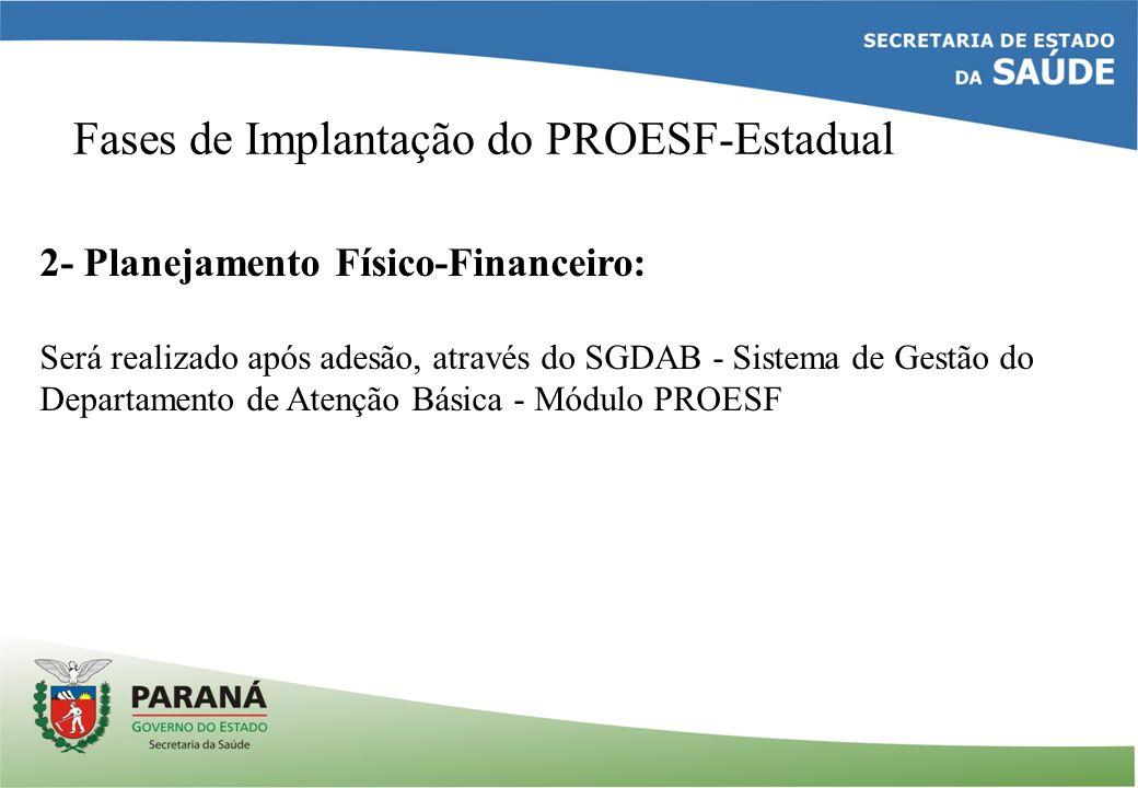 Fases de Implantação do PROESF-Estadual 2- Planejamento Físico-Financeiro: Será realizado após adesão, através do SGDAB - Sistema de Gestão do Departamento de Atenção Básica - Módulo PROESF