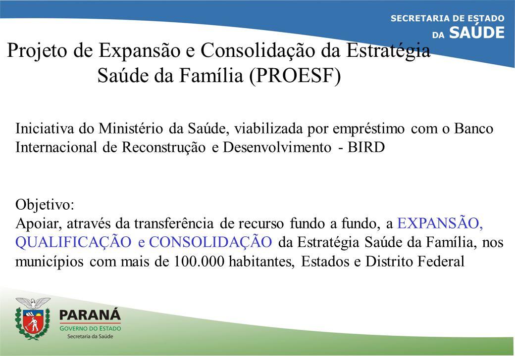 Projeto de Expansão e Consolidação da Estratégia Saúde da Família (PROESF) Iniciativa do Ministério da Saúde, viabilizada por empréstimo com o Banco I