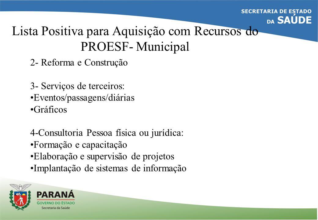 Lista Positiva para Aquisição com Recursos do PROESF- Municipal 2- Reforma e Construção 3- Serviços de terceiros: Eventos/passagens/diárias Gráficos 4