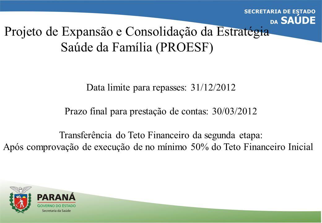 Projeto de Expansão e Consolidação da Estratégia Saúde da Família (PROESF) Data limite para repasses: 31/12/2012 Prazo final para prestação de contas: