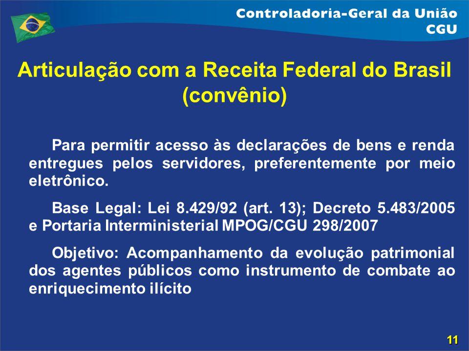 Articulação com a Receita Federal do Brasil (convênio) Para permitir acesso às declarações de bens e renda entregues pelos servidores, preferentemente