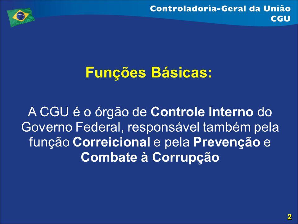 Funções Básicas: A CGU é o órgão de Controle Interno do Governo Federal, responsável também pela função Correicional e pela Prevenção e Combate à Corr
