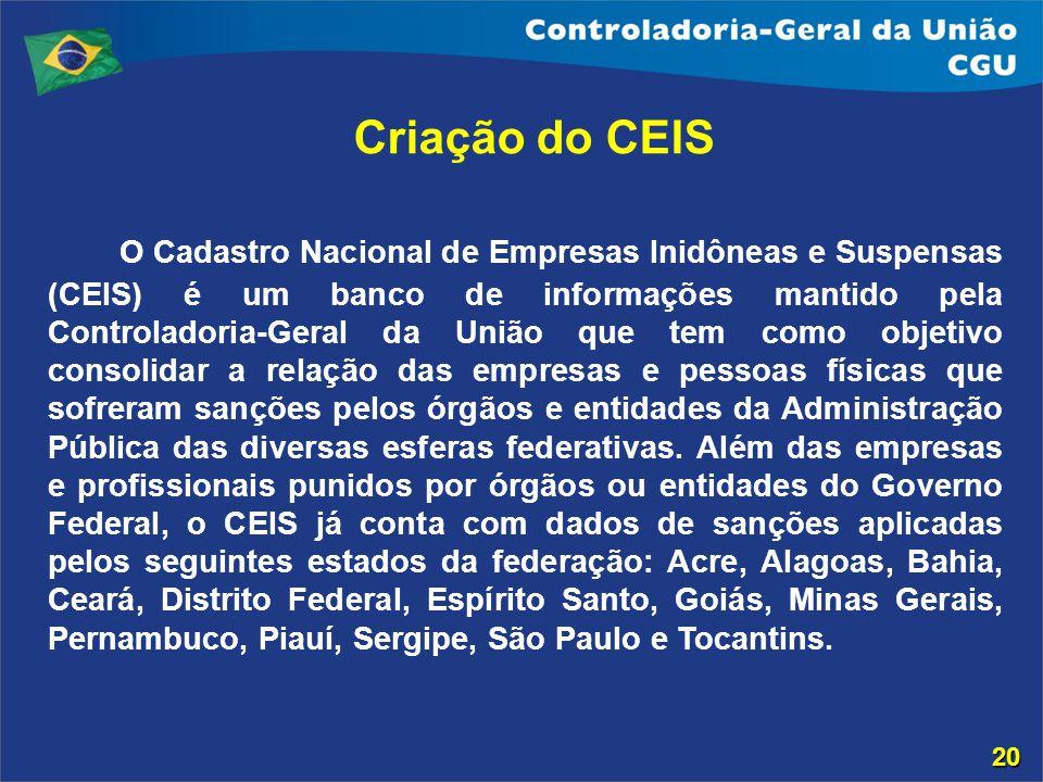 Criação do CEIS O Cadastro Nacional de Empresas Inidôneas e Suspensas (CEIS) é um banco de informações mantido pela Controladoria-Geral da União que t