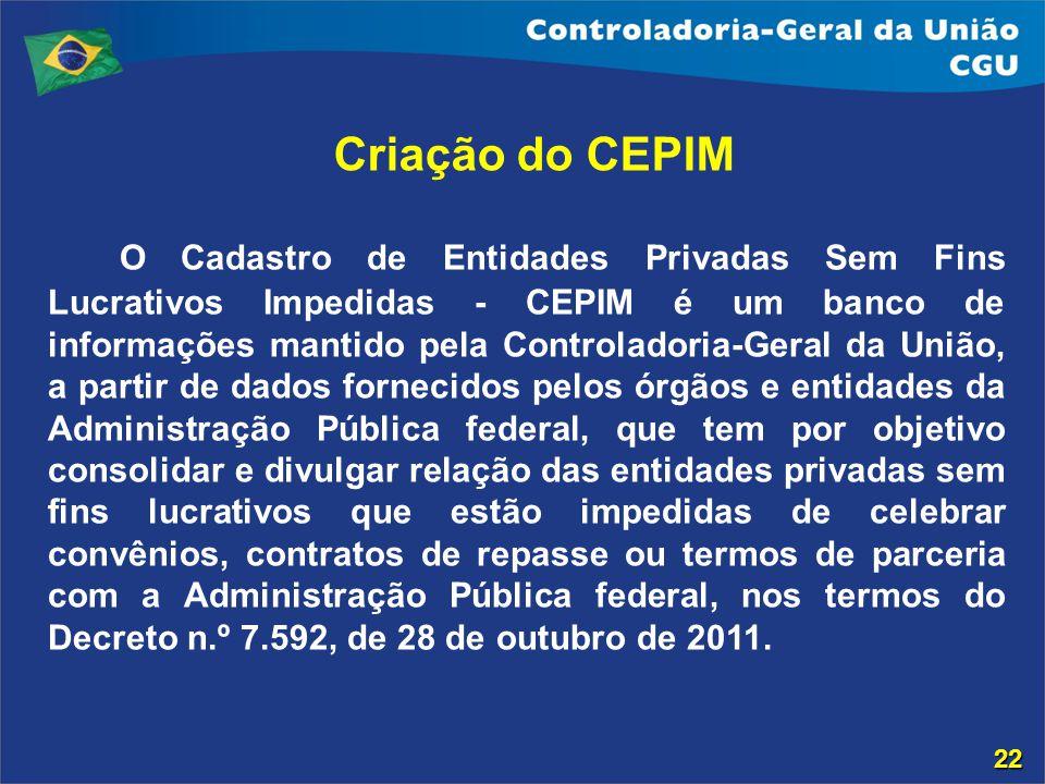 Criação do CEPIM O Cadastro de Entidades Privadas Sem Fins Lucrativos Impedidas - CEPIM é um banco de informações mantido pela Controladoria-Geral da