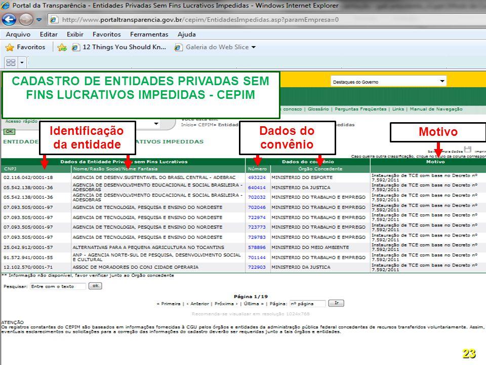 Motivo CADASTRO DE ENTIDADES PRIVADAS SEM FINS LUCRATIVOS IMPEDIDAS - CEPIM 23 Dados do convênio Identificação da entidade