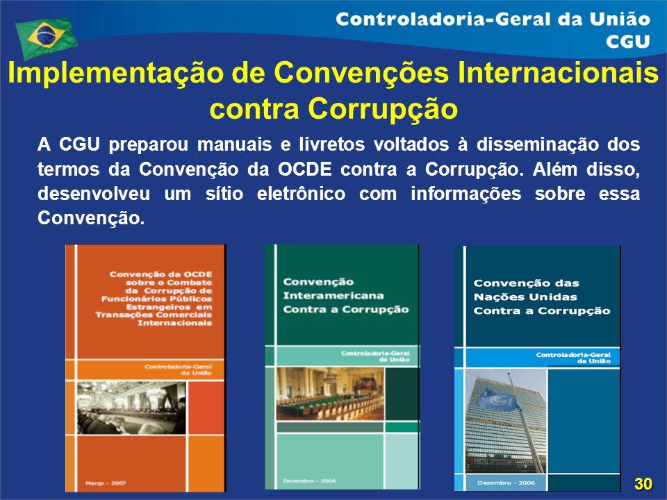 Implementação de Convenções Internacionais contra Corrupção A CGU preparou manuais e livretos voltados à disseminação dos termos da Convenção da OCDE