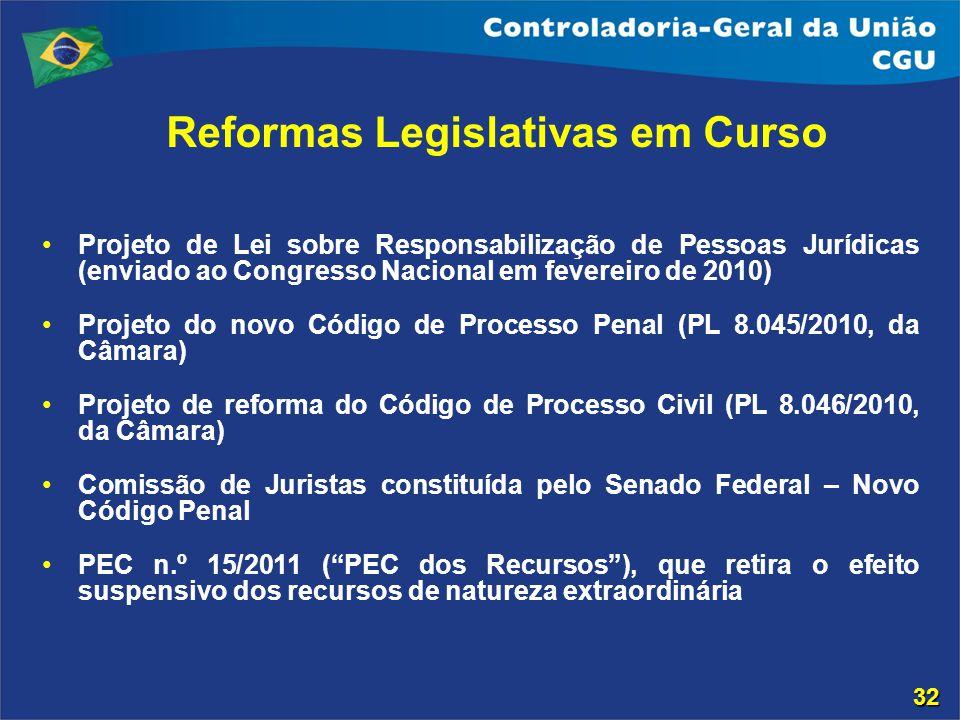 Reformas Legislativas em Curso Projeto de Lei sobre Responsabilização de Pessoas Jurídicas (enviado ao Congresso Nacional em fevereiro de 2010) Projet